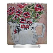 Hall China Red Poppy And Poppies Shower Curtain