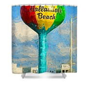 Hallandale Beach Water Tower Shower Curtain