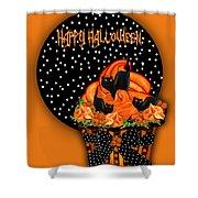 Halloween Black Cat Cupcake 2 Shower Curtain