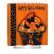 Halloween Black Cat Cupcake 3 Shower Curtain