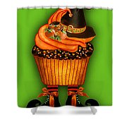 Halloween Cupcakes - Green Shower Curtain