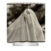 Halloween Goast Sepia Shower Curtain