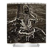 Halloween Green Skeleton Black And White Shower Curtain