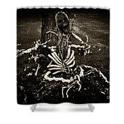 Halloween Green Skeleton Vinette Black And White Shower Curtain