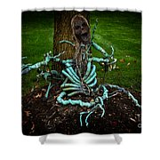 Halloween Green Skeleton Vinette Shower Curtain