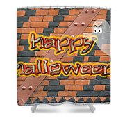 Halloween Greeting Card - Brick Wall In Philadelphia Shower Curtain