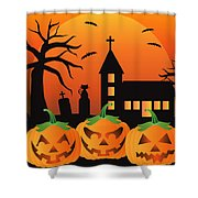 Halloween Jack O Lantern Pumpkins Illustration Shower Curtain