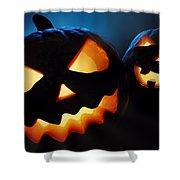 Halloween Pumpkins Closeup -  Jack O'lantern Shower Curtain by Johan Swanepoel