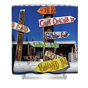 Halloween Signs Pionting In Various Shower Curtain