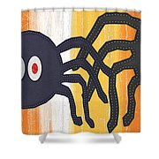 Halloween Spiders Sign Shower Curtain by Linda Woods