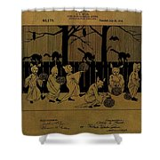 Halloween Trick Or Treaters Patent Shower Curtain