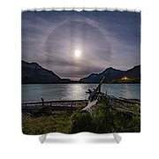 Halo Around The Solstice Moon Shower Curtain