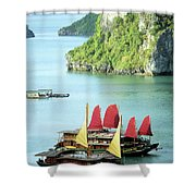 Halong Bay Sails 02 Shower Curtain