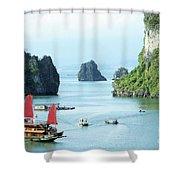 Halong Bay Sails 03 Shower Curtain