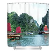 Halong Bay Sails 04 Shower Curtain