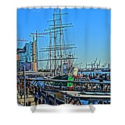 Hamburg Germany Sail Boat With Elbphilharmonie Shower Curtain