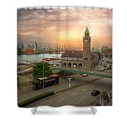 Hamburg Harbor Shower Curtain