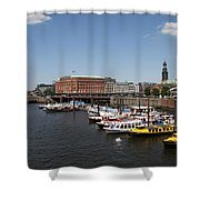 Hamburg Port With Fleet  Shower Curtain