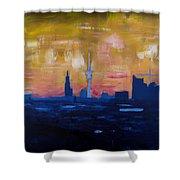 Hamburg Skyline At Dusk With Elbe Philharmonic Hall Shower Curtain