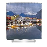 Hamnoy Fishing Village On Lofoten Islands Shower Curtain
