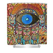 Hamsa Cat Blessing Shower Curtain