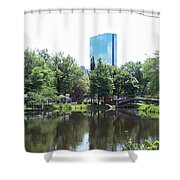 Hancock Building From Lagoon Shower Curtain