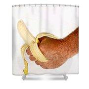 Hand Holding A Banana Shower Curtain
