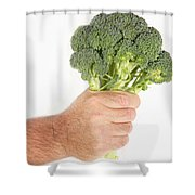 Hand Holding Broccoli Shower Curtain