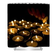 Hand Lighting Candles Shower Curtain