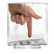 Hand Points At Money Pile Shower Curtain