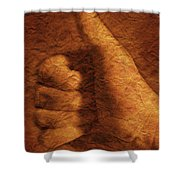 Hand With Thumbs Up Sign Shower Curtain
