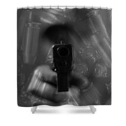 Handgun And Ammunition Shower Curtain
