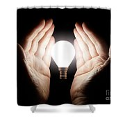 Hands Holding Light Bulb Shower Curtain