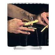 Hands Of A Puppeteer Shower Curtain