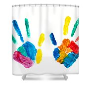 Hands Painted Stamped On Paper Shower Curtain