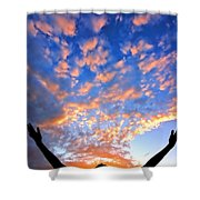 Hands Up To The Sky Showing Happiness Shower Curtain by Michal Bednarek
