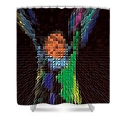 Hands Up Triangle Man Shower Curtain