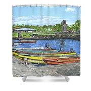Hanga Roa Harbour Shower Curtain