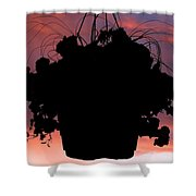 Hanging Basket Silhouette Shower Curtain