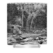 Hanging Bridge In Black And White Shower Curtain