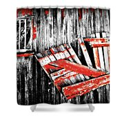 Hanging By A Few Nails Bw Shower Curtain