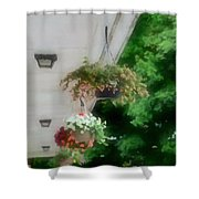 Hanging Flower Baskets On A Porch  Shower Curtain