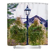 Hanging Flowers With An Old Fashioned Lantern Shower Curtain