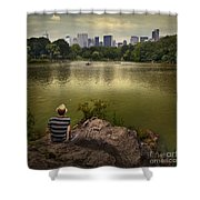 Hanging Out In Central Park Shower Curtain