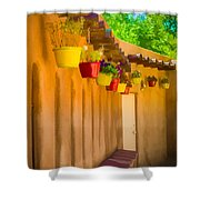 Hanging Pots - Watercolor Shower Curtain