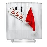 Hanging Santa Hat And Sign Shower Curtain by Amanda Elwell