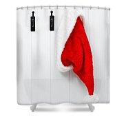 Hanging Santa Hat Shower Curtain by Amanda Elwell