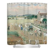 Hanging The Laundry Out To Dry Shower Curtain by Berthe Morisot