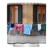 Hanging The Wash In Venice Shower Curtain
