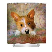 Hankie A Corgi And Westi Mix Cute Dog Shower Curtain